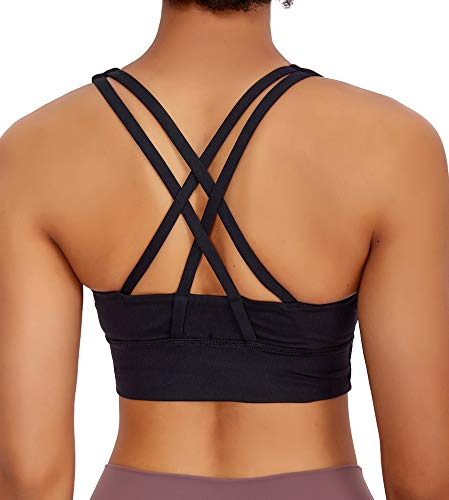 Lavento Women's Strappy Sports Bra Long Line Medium Support Energy Workout Training Top(Medium,Black)
