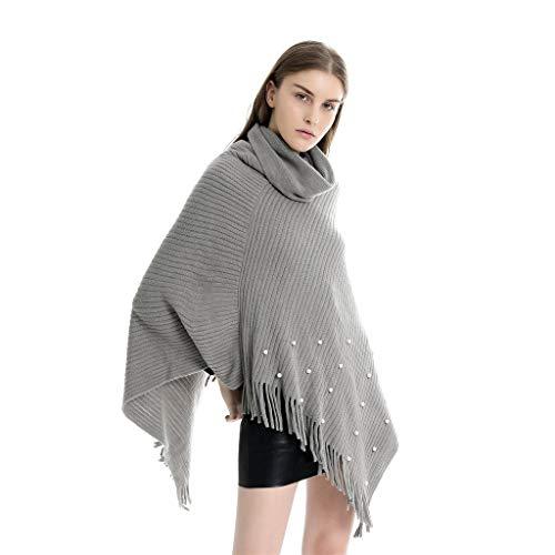 PLOT Stolen für Damen Nationaler Stil Kaschmir Umschlagtücher Hoher Kragen Frauen Weich Warm Pashminas Poncho Umschlagtuch mit Perle