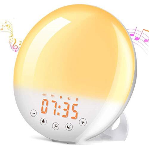 Luces Despertador,Despertador Luz,Wake Up Light Simulación Amanecer/Atardece,Ayuda Dormir,8 Sonidos Naturales,6 Colores,30 Niveles Brillo,Radio FM,Función Snooze,Luces Despertador para Adulto Niños