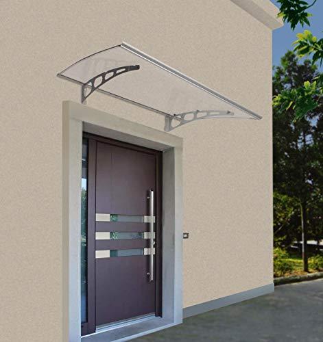 Defacto Vordach Überdachung Haustürvordach Polycarbonat-Solide klar Stahl verzinkt Pultbogenvordach Inkl. Montagematerial Klar+Grau 120x80cm [800-K