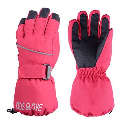 TRIWONDER Wasserdicht Handschuhe für Kinder, Warme und Winddichte Skihandschuhe für Laufen Skifahren Wandern Snowboard (Rosenrot, L (11-14 Jahre alt))