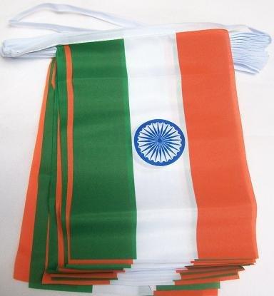 AZ FLAG FAHNENKETTE Indien 6 Meter mit 20 flaggen 21x14cm - INDISCHE Girlande Flaggenkette 14 x 21 cm