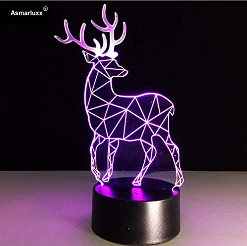 Luz nocturna visual Deer 3D LED Lamp Table Touch Lamp 7 colores que cambian 3D Desk Light Lamp USB LED Night Light 2017 Nuevo regalo gratis para niños Halloween navidad