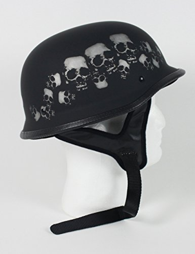 Rodia Matte Black Skull Pile German DOT Motorcycle Helmet (M)