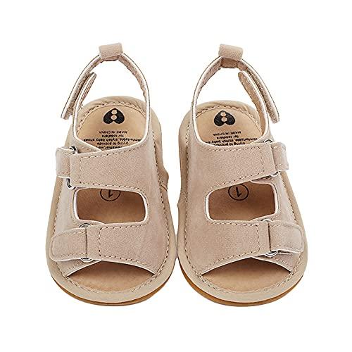 Moares 1 par de zapatos de bebé para niños y niñas, antideslizantes, transpirables, para interiores y para caminar, para recién nacidos, para cuna, para el verano, piel sintética, color crema, 13 cm