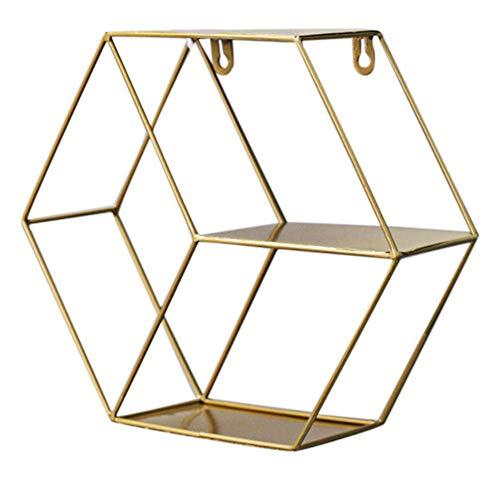 HDSFD Estante de pared hexagonal montado en madera y metal geométrico para decoración de pared de hierro, estantes decorativos premontados para sala de estar, dormitorio, cocina, oficina