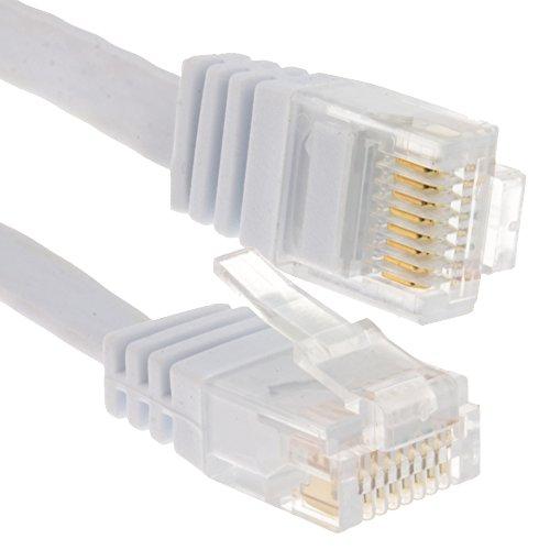 Flach CAT6 Ethernet LAN Patchkabel Kabel Verluste Profil Gigabit RJ45 6 m Weiß [6 Meter/6m]