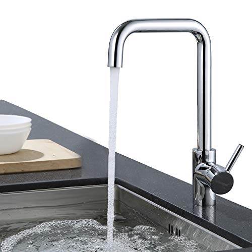 ubeegol Messing Chrom Küchenarmatur 360° drehbar Wasserhahn Küche Armatur Spültisch Mischbatterie Spüle Einhebelmischer Spültischarmatur