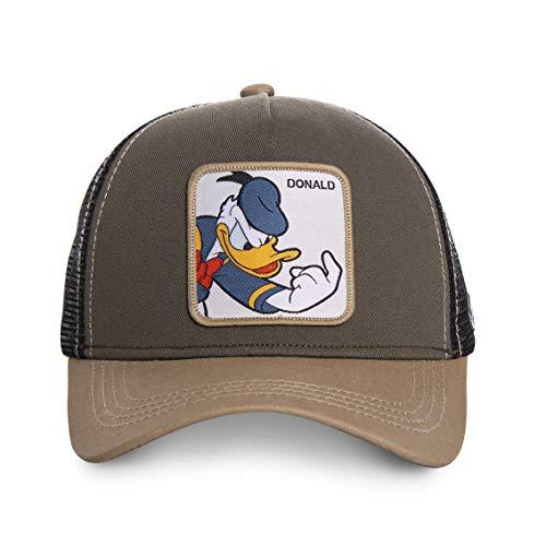 Disney Herren Trucker Cap Mickey Mouse Donald Duck Goofy Retro Cartoon Charakter Druck 1er Pack Schwarz Weiß Blau, Farbe:Motiv 1 (CL/DIS/1/DON1)