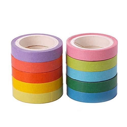 UKtrade Craft - Cinta adhesiva multicolor para oficina, suministros de oficina para niños, bricolaje, manualidades, trabajo, cinta adhesiva de color, decoración de cuadernos de 11 colores