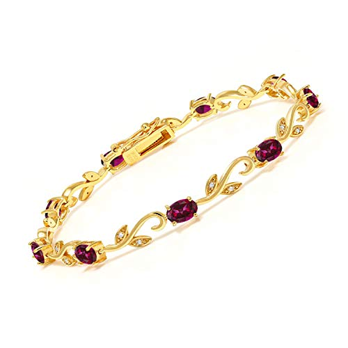 18K Yellow Gold Plated Silver Diamond Greek Vine 7 Inch Tennis Bracelet Set with Blazing Red Topaz from Swarovski