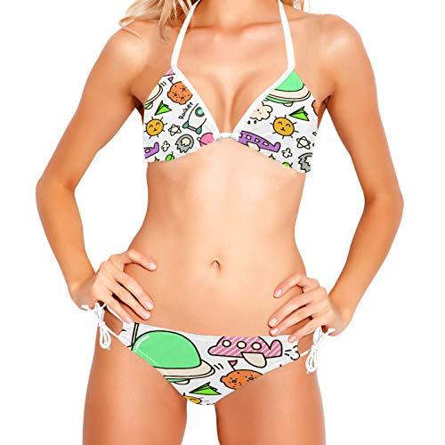 Bikinis Conjuntos para Mujer Vehículo Espacial Traje de Baño Playa XS-XXL