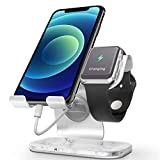 Cellphone and Apple Watch Stand, ZVEdeng Phone Apple Watch Charging Stand Station, 2 in 1 Universal Stand Holder for iPhone 12 Pro Max/12/12 Pro/12 Mini Apple Watch(38-42mm)-White Marble Leather
