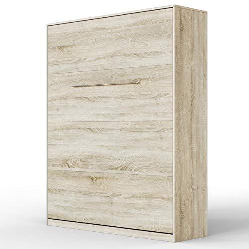 SMARTBett Standard 160x200cm Vertikal Eiche Sonoma Komfort Lattenrost | ausklappbares Wandbett, Wandklappbett fürs Gästezimmer, Büro, Wohnzimmer, Schlafzimmer