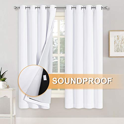 RYB HOME 100% Blackout Curtains with Felt Fabtic Liner for Sound Absorbing, 3 Layers Soundproof Thermal Insulated Summer Drapes for Bedroom Home Theater Baby Nursery, 52 x 63 inch, White, Set of 2