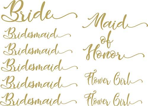 Pack of 8 Vinyl Wedding Iron on Transfer (1 Bride) (1 Maid of Honor) (4 Bridesmaid) (2 Flower Girl) (Gold-Bridal Train 2)