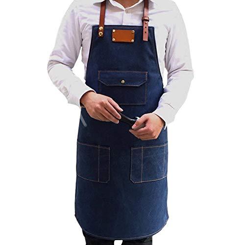MaoDaAiMaoYi denim schort tuin schort mannen keukenschort chic casual schort backschort kookschort met veel zakken jeans schort horeca bistro schort voor cafe hairstylist restaurant