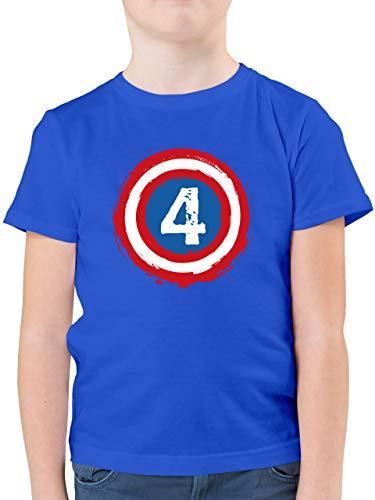 Kindergeburtstag Geschenk - Superhelden Schild Geburtstag 4-104 (3/4 Jahre) - Royalblau - superheld Kinder Shirt - F130K - Kinder Tshirts und T-Shirt für Jungen