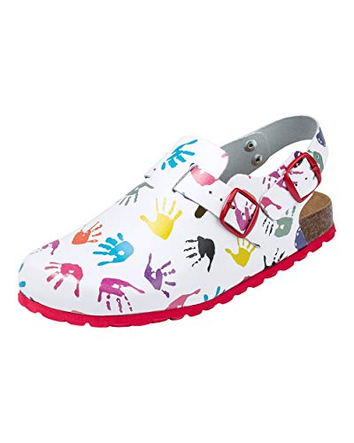 CLINIC DRESS Clog - Clogs Damen weiß bunt Motiv. Schuhe für Krankenschwestern, Ärzte oder Pflegekräfte weiß/bunt, Hände 38