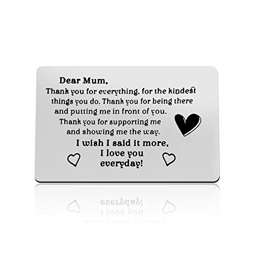 Mom Gifts from Daughter Son Engraved Wallet Insert Card for Mom Thank You for Everything Mothers Day Gifts for Mom Thanksgiving Gifts Christmas Birthday Gifts for Mom