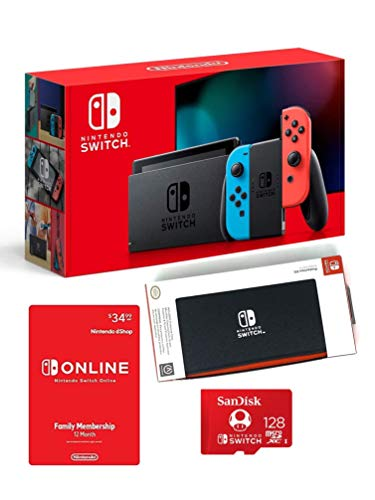 Nintendo Switch Bundle with 12 Month Online Family Plan /128GB SanDisk Micro SD Card/Case and Screen Protector