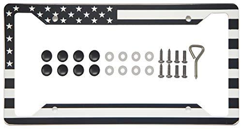 International Tie Flag-Themed License Plate Frame, High Grade 304 Stainless Steel (Black and White American Flag)