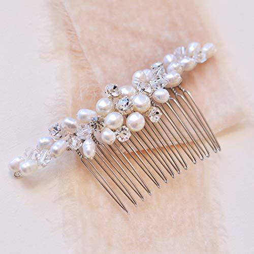 Unicra Hochzeit Perle Haarkamm Blume Haarschmuck mit Kristall Braut Seitenkämme Kopfschmuck für Braut (Roségold)