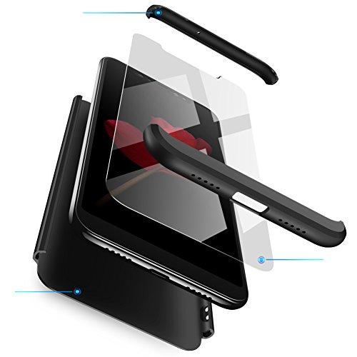 Funda Samsung J5 2017/J5 Pro Negro,Case Samsung Ultra Fina Carcasa 360°Complete Package Protectora Caja Anti-Dactilares PC Hard Cover Bumper Skin cojín Compatible Samsung 3D 9H Vidrio Templado