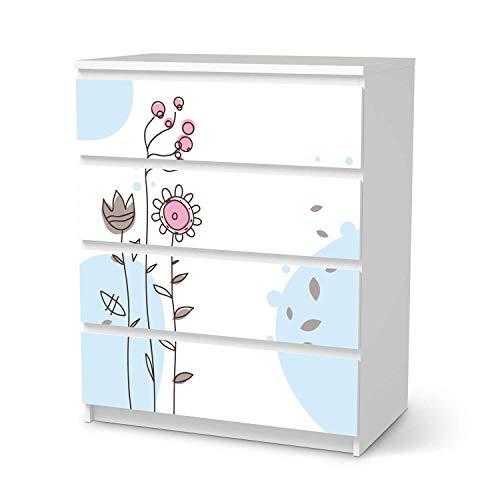 creatisto Möbelfolie passend für IKEA Malm Kommode 4 Schubladen I Möbelsticker - Möbel-Tattoo Sticker Aufkleber I Deko Ideen Wohnung für Schlafzimmer, Wohnzimmer - Design: Flowers 3