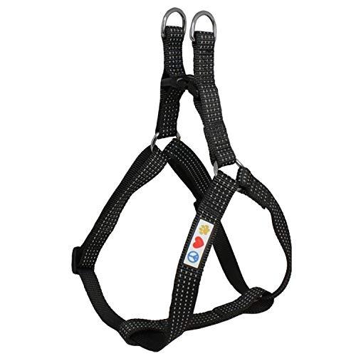 PAWTITAS verstellbares, Reflektierendes Step-in-Softgeschirr für Welpen | Hundegeschirr einstellbar ideal für sportliche Aktivitäten | Extra Klein - Schwarz Hundegeschirr