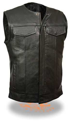 SOA Men's Basic Leather Motorcycle Vest Zipper & Snap Closure w/ 2 Inside Gun Pockets & Single Panel Back (X-Large)