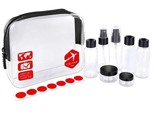 TWIVEE - Transparenter Kulturbeutel mit Reiseflaschenset - 1 Liter - Transparent-Rot - Unisex