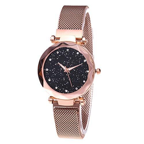 Qinlee Armbanduhren Damen mit Kristall Damen Armband Armbanduhr Damen-Uhr Herren-Uhr Analog Quarz Kunst-Leder-Armband Chronograph Dornschließe-Rosiges Gold