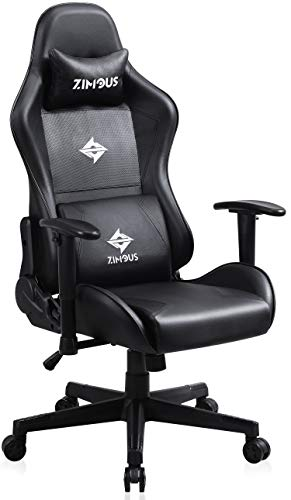 Zimous Gaming Chair with Massage Lumbar Support Ergonomic Compeuter Game Chair 350 Lbs High Back Game Office Chair PU Leather Swivel Recliner Desk Chair with Headrest and Adjustment Armrest (Black)