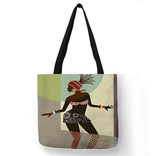 Art Moderne Afrique Peinture Impression Africaine Sac Fourre-Tout Exotique pour Femmes Dames Loisirs Épaule Sacs À Main Grands Sacs À Provisions, Modèle 11, Taille L 40x40 CM