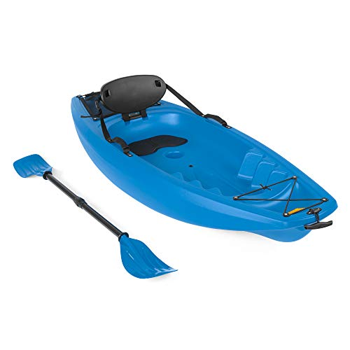 Best Choice Products 6ft Kids Kayak w/Paddle, Cushioned Backrest, Storage Compartment, Wheel - Blue