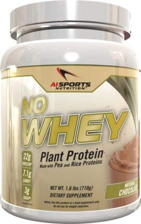 No Whey! Plant Based Protein Powder by AI Sports Nutrition | Vegan Friendly Organic Pea and Rice Protein. All Natural. No Artificial Flavors No Artificial Sweeteners 20 Serving Tub Chocolate Flavor