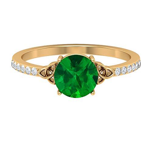 Anillo de diamante y esmeralda creada en laboratorio de 1,82 quilates, anillo de diamante HI-SI, anillo solitario con piedra lateral, anillo de compromiso de nudo celta, anillo de oro de 14 qu