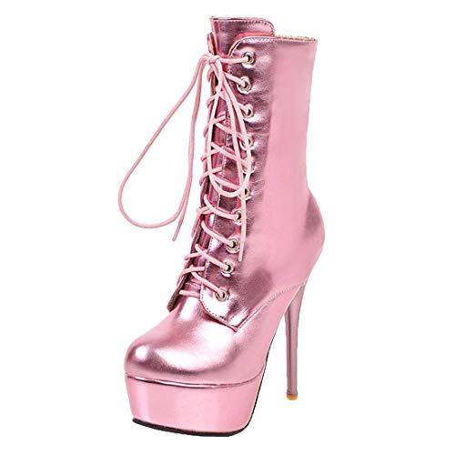 MISSUIT Damen Extreme High Heels Plateau Stiefeletten mit Schnürung Stiletto Platform Boots Reißverschluss(Pink,38)