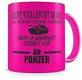 Samunshi® Ich denke an Panzer Tasse Kaffeetasse Teetasse Kaffeepott Kaffeebecher Becher Nr.5: neon pink/schwarz 300ml