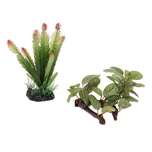 B Blesiya 2 Pcs Plantas Realistas Decoración de Hábitats de Reptiles Anfibios