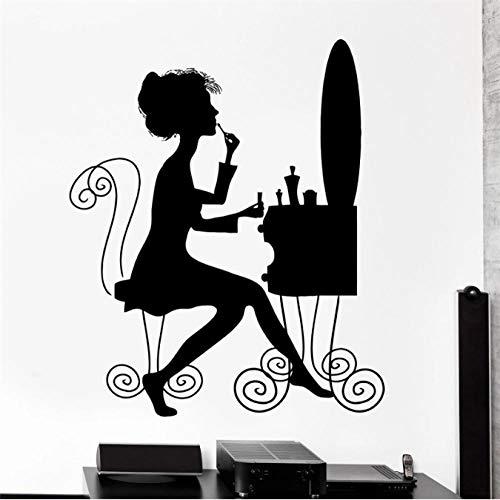 Autocollant 27X43Cm de vinyle de style de maquillage de salon de maquillage de salon de beauté de femme