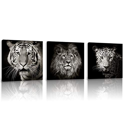 FUNHUA Pictures of Tiger Lion Leopard for Boys Bedroom Office KTV Wall Decor Black