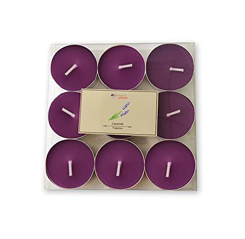 Candele D'Aurora Jaqueline Set 9 Tea Light Profumati, Cera vegetale, Viola, 11,5x11,5x1,4 cm