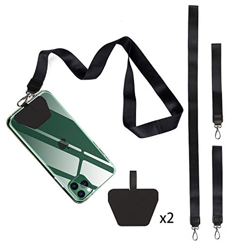 Cell-Phone Lanyard Neck Wrist Strap - Universal Phone Lanyard with Durable Adhesive Patch Neck Strap for Phone Case Wallet ID Badge Holder Fit All Smartphones,Black,4 Pack