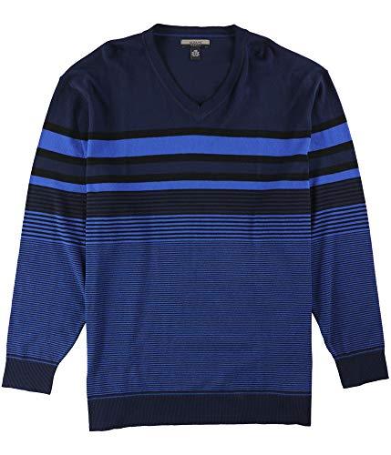 Alfani Mens Bold Pop Striped V-Neck Pullover Sweater, Blue, 2XLT