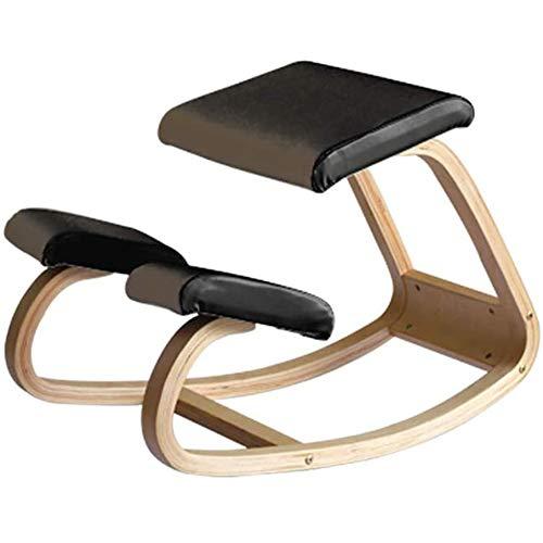 Jakroo Ergonomisch für Kniender Stuhl, Büromöbel Ergonomisch für Zuhause, Hölzerner Schaukelstuhl, Computerhaltung,Schwarz