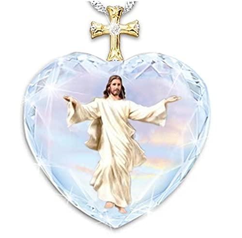 Melocotón corazón cristal exquisita cruz con incrustaciones de diamantes Jesús moda collar de fe religiosa