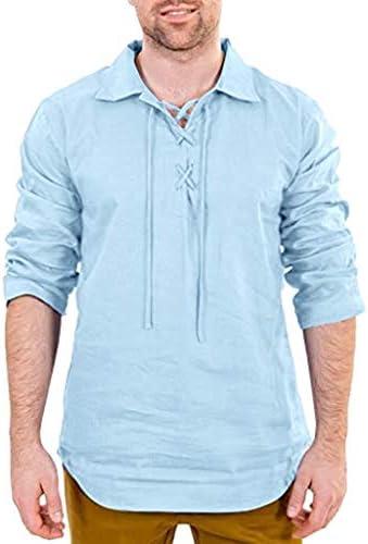 Hombre Vintage Medieval Camisa Lace-up Cuello en V Camisa ...