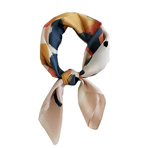 FONYVE Silk Feeling Scarf Medium Square Satin Head Scarf for Women 27.5 × 27.5 inches